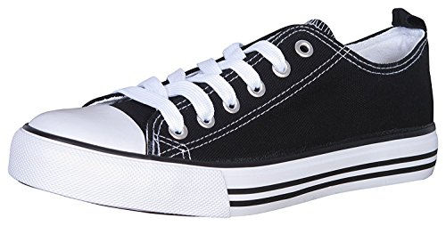 Image of Haughty Womens Canvas Shoes Low Top Lace up Casual Sneakers Gym Trainers (6, Black and White)