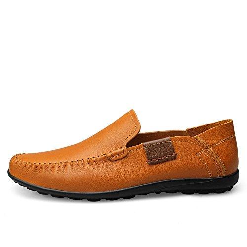 Cuero Coche Comodidad Ponerse Marrón Conducción Mocasines Zapatos Shenn Hombre afnR11
