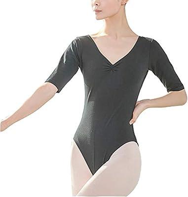 Los leotardos de ballet de la mujer Mujeres Cuello en V Gimnasia Danza Ballet Leotardo Color sólido Body de manga corta Adecuado for damas que practican danza Bailarín de ballet Leotardo Dancewear: