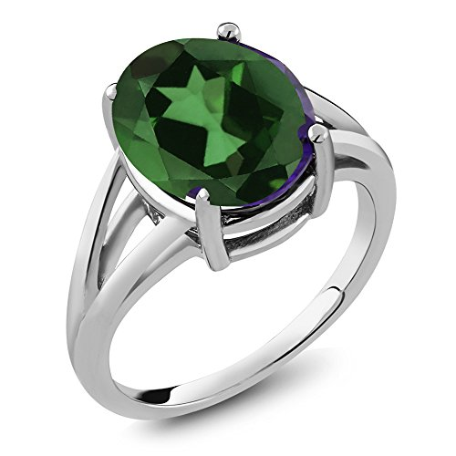 4.00 Ct Oval Green Mystic Quartz 925 Sterling Silver Ring (Ring Size 8)