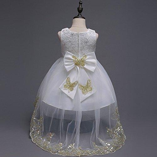 Principessa Maniche Abiti Ragazze Filato Da Festa Tutu Cerimonia Bianco Senza Arco Pizzo Vestito Bozevon Bambini Abitini Matrimonio Bambina Netto 4wpq1BXnf