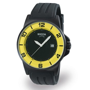 3535-10 Boccia Titanium Mens Watch in Black & Yellow