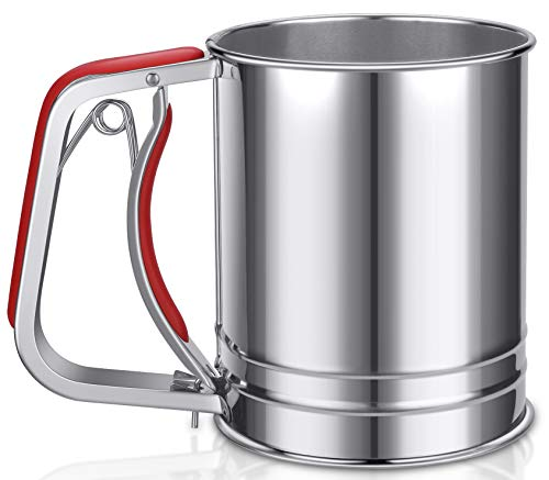 (YongLy Stainless Steel Flour Sifter with Silicone Handle Fine Mesh Strainer for kitchen Baking 3 Cup Red)