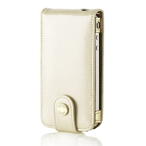 Pipetto Luxury Patent Flip Case für iPhone 4 / 4S White Pearl