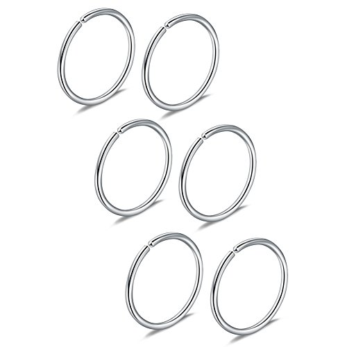 (Ruifan 3prs Non Pierced Stainless Steel Clip on Closure Round Ring Fake Nose Lip Helix Cartilage Tragus Ear Hoop 20G 12mm Steel)