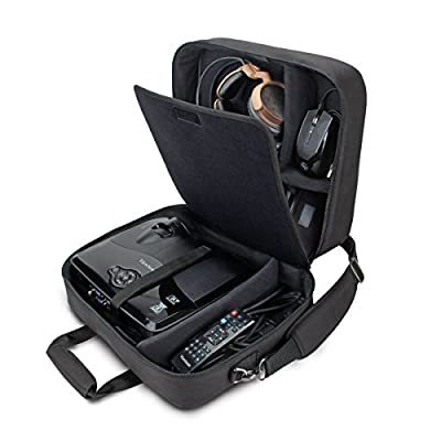 Video Projector Carrying Case Bag by USA Gear for ViewSonic PJD5155/PJD5134 , Epson VS240 , VS230 , EX21 , EX31 , EX71 & More - Scratch-Resistant Interior , Shoulder Strap , & Customizable Dividers
