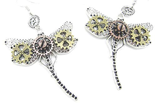 Steampunk Jewelry: Halloween Statement Earrings Gears Mixed Metal (Dragonfly Dangles) for $<!--$16.99-->