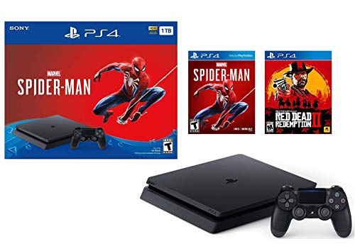 Sony Playstation 4 1TB Marvel's Spider-Man Bonus Bundle w/Red Dead Redemption: Playstation 4 1TB Jet Black Console, Marvel's Spider-Man, Red Dead Redemption 2, DUALSHOCK 4 Wireless Controller