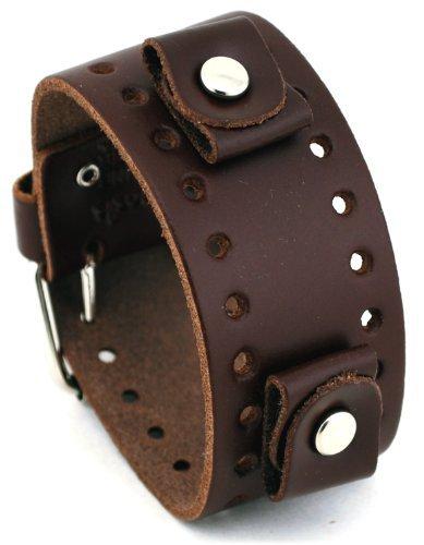 Cuff Wrist Watch Band - Nemesis #BN-BB Dark Brown Wide Leather Cuff Wrist Watch Band
