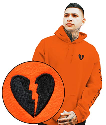 Riot Society Black Broken Heart Embroidered Mens Hoodie - Orange, Small