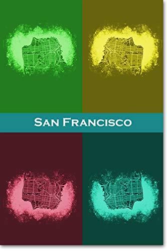 Best Quality Prints San Francisco, California, USA Original Map Design Four Colour - Art Print Poster Photo Gift - Size: 30cm x 20cm