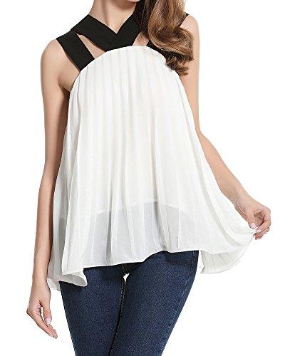 Mujeres Irregular Del Dobladillo Sin Mangas Camisetas Top Blanco