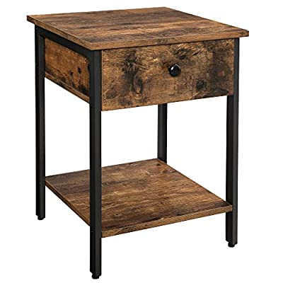 VASAGLE VINCYER Nightstand, End Table, Side Table with Drawer and Shelf, Bedroom, Living Room, Easy Assembly, Metal, Industrial Design, Rustic Brown ULET55BX