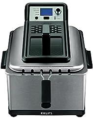 KRUPS KJ502D51  Deep Fryer, Electric Deep Fryer, Stainless Steel Triple Basket Fryer, 4.5 Liter, Silver