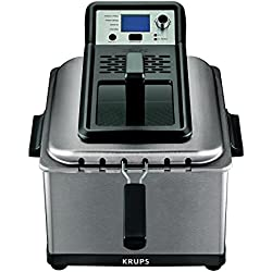 KRUPS KJ502D51 Professional Brushed Stainless Steel Triple Basket Deep Fryer Including 4 Presets Odor Filter Viewing Window, 4.5-Liter, Silver