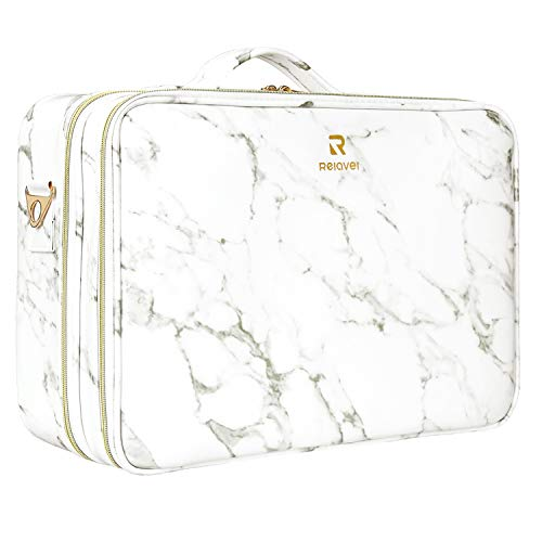 Relavel Marble Makeup Bag Small Cosmeticbag Travel Train Case Portable Cosmetic Artist Storage Bag with Adjustable Dividers for Cosmetics Makeup Brushes (Marble White)