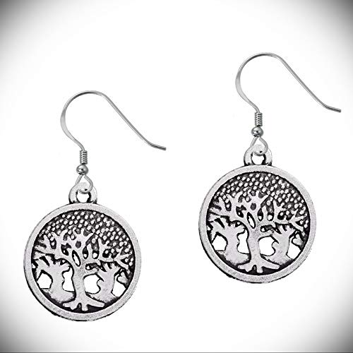 """2"""" Tree of Life Forest Circle Nature Silver Tone Lightweight Dangle Earrings"""