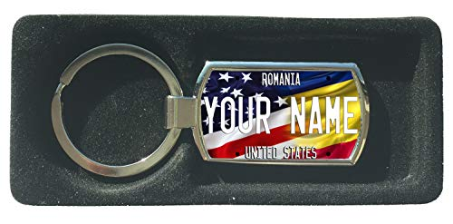 BRGIftShip Customize Your Own Mixed USA and Romania Flag Metal Keychain