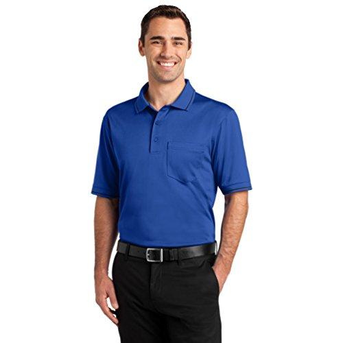 Cornerstone Men's Wrinkle Resistant Pocket Polo Shirt_Royal/Black_Large