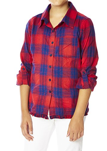 Chillipop Plaid Button-Down Shirt for Big Girls with Frayed Fringe Hem, Red Navy, 10/12 (Plaid Patterned Flannel)