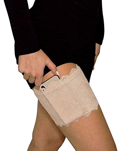 Vockets Women's Lace Non-Slip Hidden Thigh Garter with 5+ Pockets Including Cell Phone Pocket, Hidden Money Pouch - (Small/Medium) - Nude (Flask Thigh Strap)