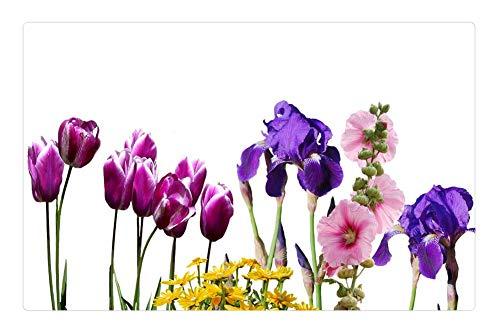 Indoor Floor Rug/Mat (23.6 x 15.7 Inch) - Iris Tulips Flowers Nature Violet Tulpenbluete 1