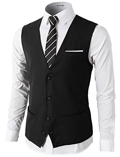 H2H-Mens-Formal-Slim-Fit-Premium-Business-Dress-Suit-4-Button-Vests-With-Pocket