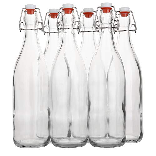 Flip Top Glass Bottle [1 Liter / 33 fl. oz.] [Pack of 6] - Swing Top Brewing Bottle with Stopper for Beverages, Oil, Vinegar, Kombucha, Beer, Water, Soda, Kefir - Airtight Lid & Leak Proof Cap - Clear