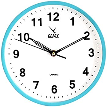 CAMY Wall Clock, 9 Inch Super Silent Non Ticking - Quartz Battery Operated Round Easy to Read Home/Office/School Clock (Cool Blue)