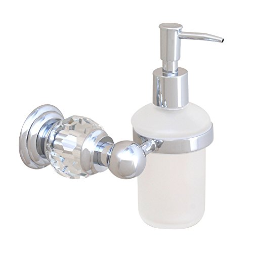 Sumin Home QC2211MC Modern Luxury Crystal Wall Mounted Shower Soap Dispenser for Bathroom, Chrome