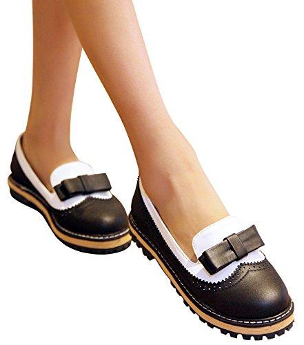 Scarpe Oxford In Pelle Da Donna Beautosoul - Fiocco Tacco Basso Nero Chiuso