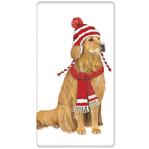Mary Lake-Thompson Holiday Golden Retriever with Hat Flour Sack Dish Towel