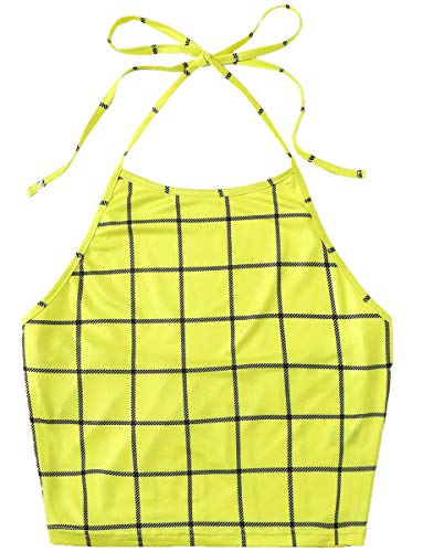 Romwe Women's Check Print Casual Cute Sleeveless Vest Halter Cami Crop Top Yellow M