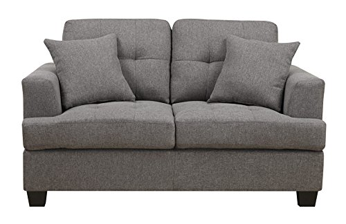 Emerald Home U3610A-01-13 Clearview Loveseat with 2 Pillows, Grey