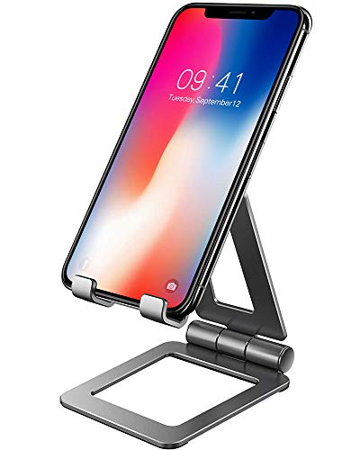 (Cell Phone Stand, Compatible with iPhone Stand, Nintendo Switch Stand, Adjustable Phone Stand for Desk, Smartphone Holder for Desk (Grey))