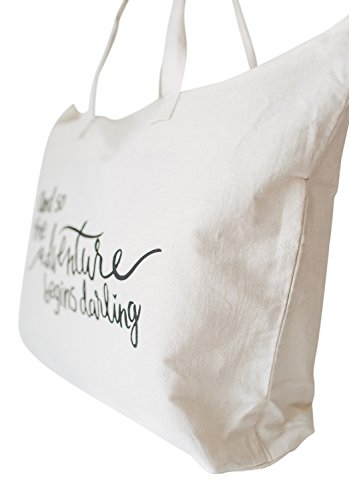 Amazon.com | Canvas Tote Bag with Special Saying - Zipper Top ...
