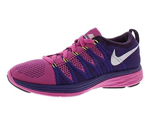 Nike Donne Flyknit Lunare 2 Runing Scarpa Clubpnkwhtcortprplgrandpuple 10,5 Noi, Club Di Colore Rosa / Bianco / Viola Corte / Grande Viola, 42,5 B (m) Eu / 8 B (m) Dm Uk