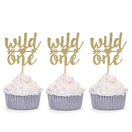 Giuffi Set of 24 Gold Glitter Wild One Cupcake Toppers Baby's First Birthday Decors