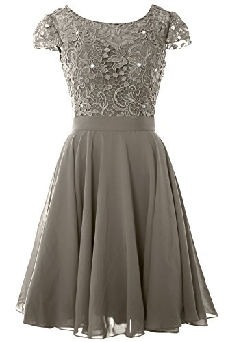 Mother Dress MACloth Short of Lace Formal Bride Gown Pewter Cap Women the Sleeve Party aHwwxtqU6