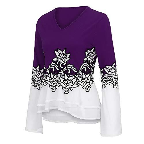 Manera Camisas collar V Camiseta Mangas Luckycat De La Púrpura Largas Las Camisa Finas Mujeres Impresa wSBAT