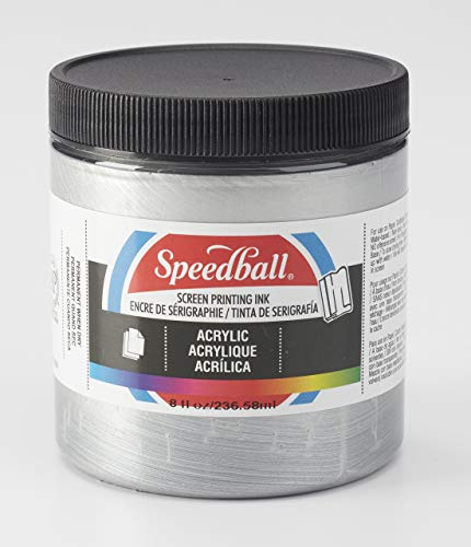 Speedball 4629 00 Acrylic Screen Printing Ink, 8 fl. oz, Silver (Pack of 12) (Renewed) Acrylic Screen Printing Ink