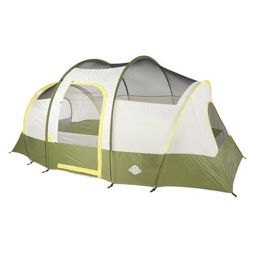 Camp In Stylish Comfort Roomy TOUGH Set Anywhere Designed For More Headroom Removable Room Divider Hooped Fly Over Door Rain Protection GREEN/WHITE Guidesman Tahoe 7-Person 14' x 9 Cabin Tent by Generic