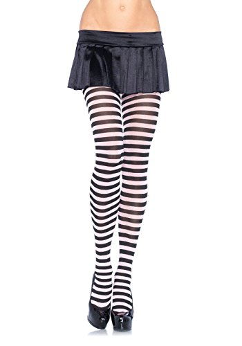 Leg Avenue Women's Plus-Size Nylon Striped Tights, Black/White, (Tight Black Dress Halloween Costumes)