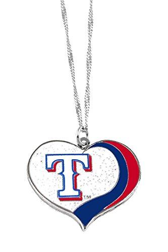 (aminco Texas Rangers MLB Sports Team Logo Charm Gift Glitter Heart Necklace)