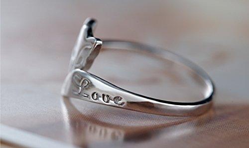 Fashmond- Bague renard ouverte ajustable femme fille gravé Love- Argent fin 925- Cadeau Saint Valentin Anniversaire