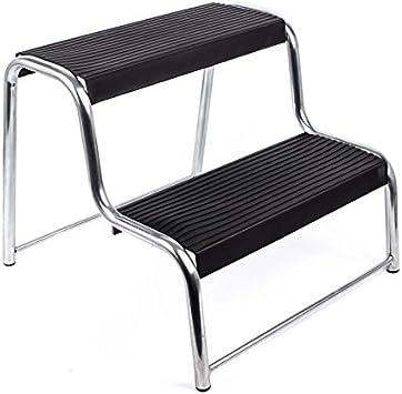 Doble escalón para caravana y autocaravana, antideslizante, 48 x 44 x 37 cm – En negro y plata: Amazon.es: Coche y moto