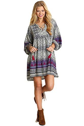 Ivory Border Print Dress - 3