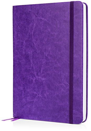 Scrivwell Dotted A5 Hardcover Notebook - 240 Dotted Pages with Elastic Band, Two Ribbon Page Markers, 100 GSM Paper, Pocket Folder - Great for Bullet journaling (Purple) by Scrivwell (Image #1)
