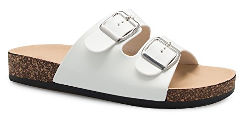 (OLIVIA K Women's Summer Open Toe Double Buckle Strap Fashion Cozy Footbed Flat Sandals)