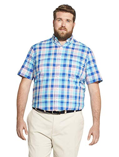 IZOD Men's Big and Tall Saltwater Dockside Chambray Short Sleeve Button Down Plaid Shirt, MildBlue Radiance, 4X-Large